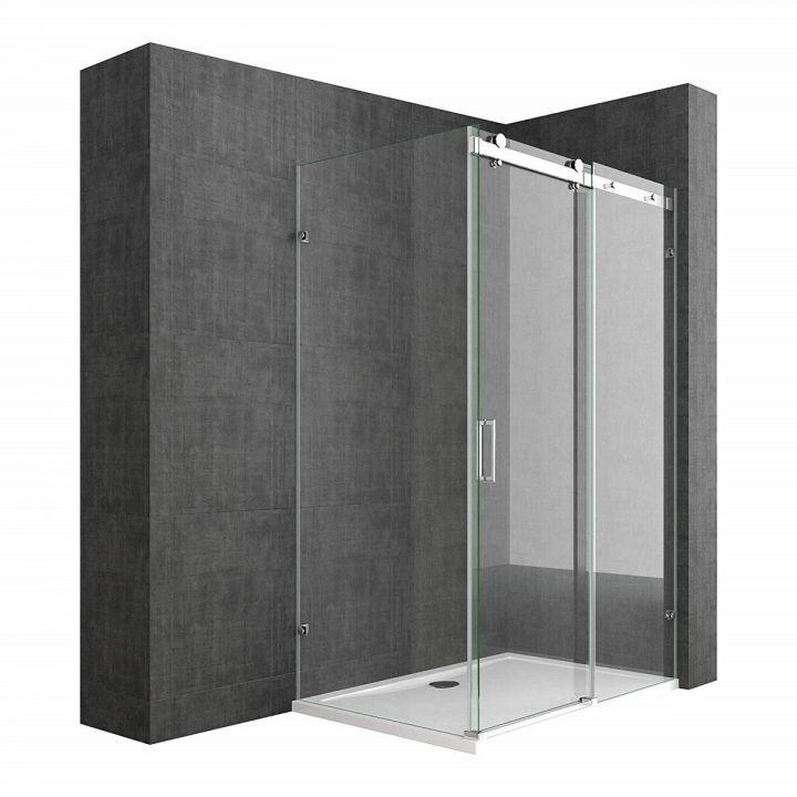 Cabina EGO-17-2, perete fix si usa Glisanta, sticla securizata 8 mm, fara profile metalice, dimensiuni la alegere