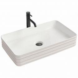 Lavoar Mezo Alb Lucios, 66,5x37 cm, montaj pe blat, ceramica sanitara
