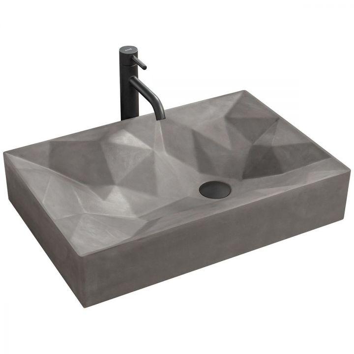 Lavoar EGO-Rock, Grey Mat, montaj pe blat, 60x40 cm, ceramica sanitara