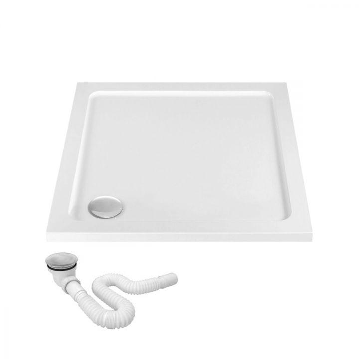 Cadita dus EGO-Savy , acril sanitar pur cu fund neted, slim, 6 cm inaltime