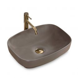 Lavoar EGO-Gizel 50, Grey Mat, montaj pe blat sau semi-incastrat, 50x38 cm, ceramica sanitara