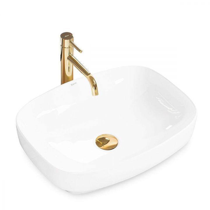 Lavoar EGO-Gizel 50, montaj pe blat sau semi-incastrat, 50x38 cm, alb lucios, ceramica sanitara