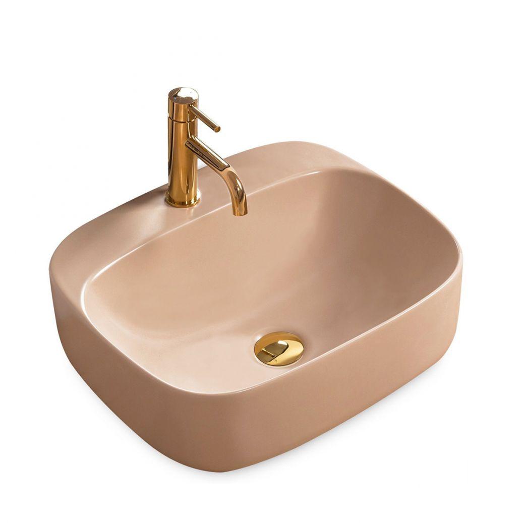 Lavoar Luiza 50 Bej Mat, 50x42 cm, montaj pe blat, ceramica sanitara