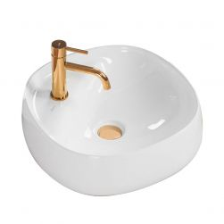 Lavoar EGO Pola, 44x44 cm, Alb, montaj pe blat, ceramica sanitara