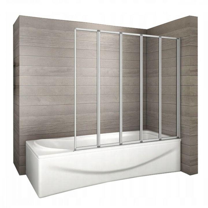 Paravan pliabil din 5 elemente,120x140 cm, sticla 4 mm, pivotant 180°, EGO-Idea 120