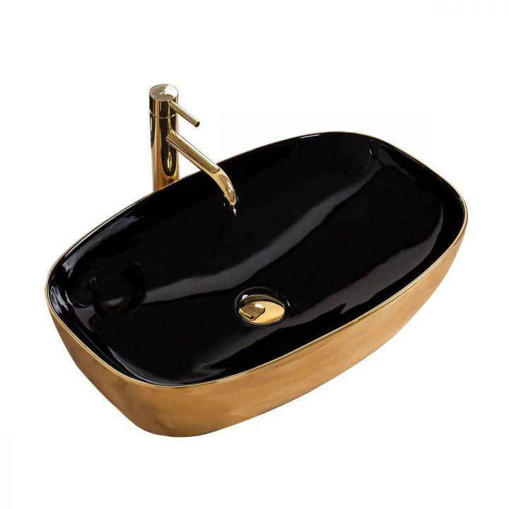 Lavoar Rich Gold/Black, 60x38 cm, montaj pe blat, ceramica sanitara