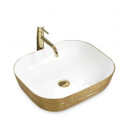 Lavoar EGO Floria, montaj pe blat, 51x41 cm, ceramica sanitara