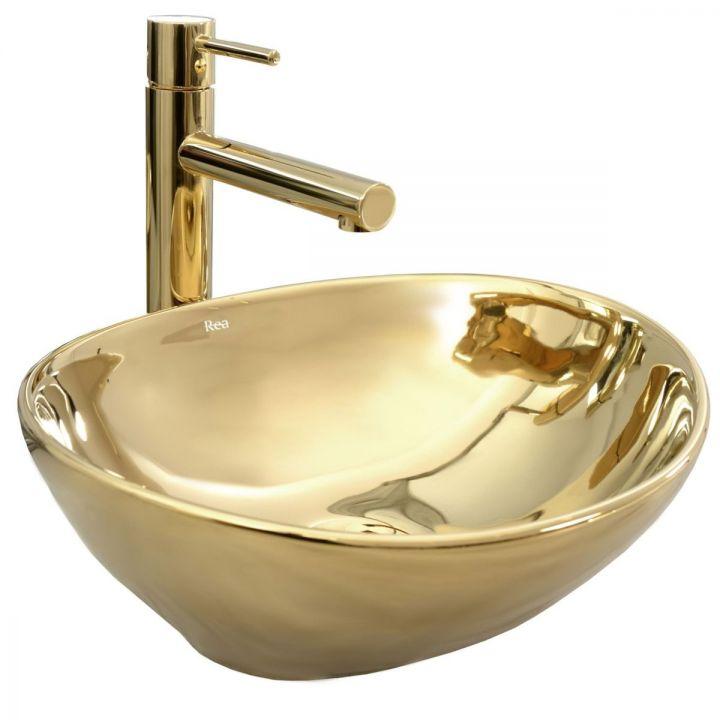 Lavoar auriu Sofia J, 40x33 cm, ceramica sanitara, montaj pe blat, design exclusivist
