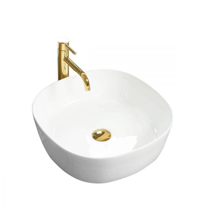 Lavoar Elena Alb Lucios, 44x44 cm, montaj pe blat, ceramica sanitara