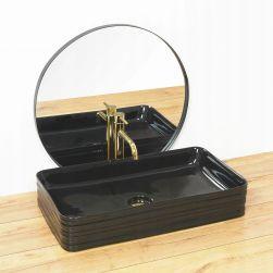 Lavoar Mezo Black, 66,5x37 cm, montaj pe blat, ceramica sanitara