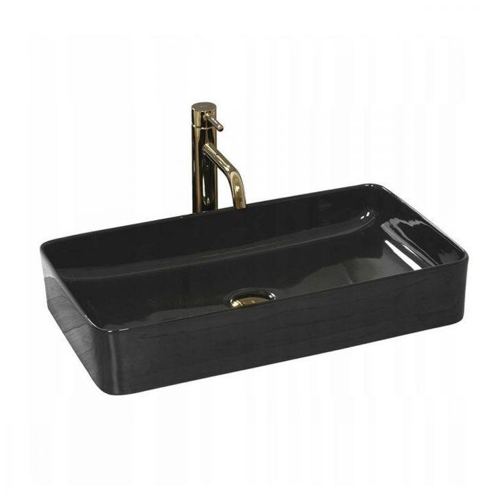Lavoar Denis Slim Black, 61x34,5 cm, montaj pe blat, ceramica sanitara