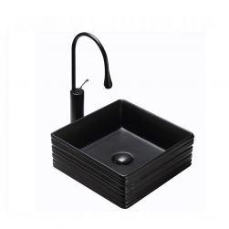 Lavoar Solo Black Mat, 38,5x38,5 cm, montaj pe blat, ceramica sanitara