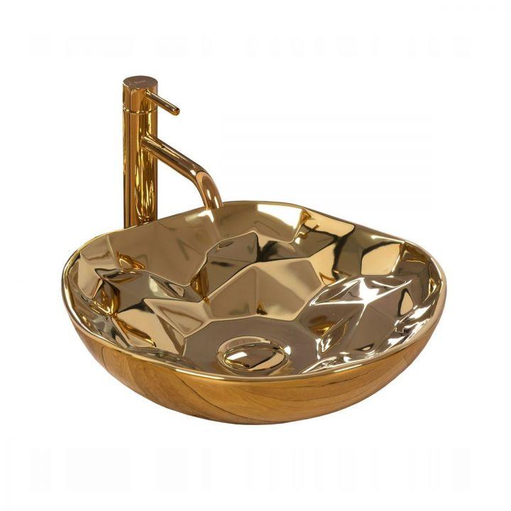 Lavoar Paris Gold, 41x41 cm, montaj pe blat, design modern