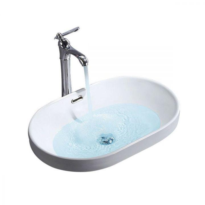 Lavoar EGO-Arleta, montaj semi-incastrat, 59x40.5 cm, alb lucios, ceramica sanitara