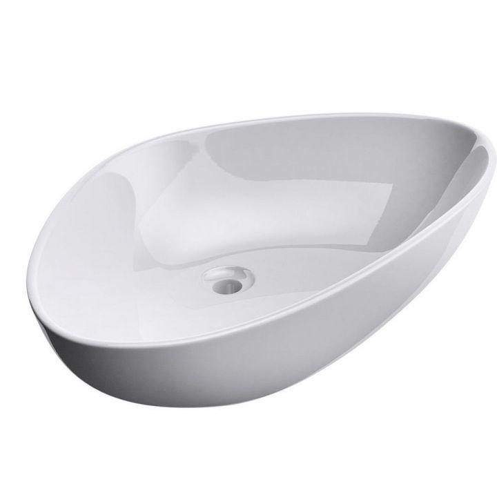 Lavoar Ego 895, ceramica sanitara, montaj pe blat, fara gaura de baterie, 67x44 cm