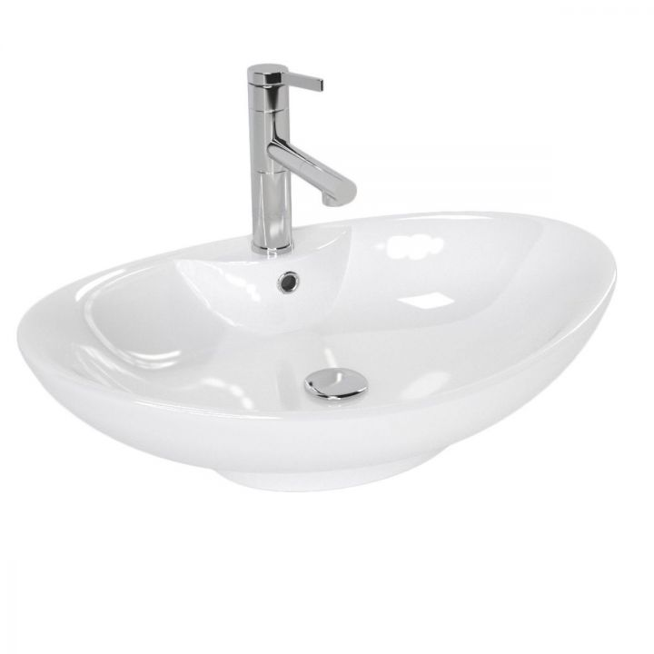 Lavoar EGO-ROS, 59x38 cm, ceramica sanitara, montaj pe blat, gaura baterie