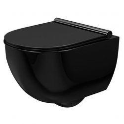 Vas WC EGO-Carter Rimless, Negru, montaj suspendat, ceramica sanitara