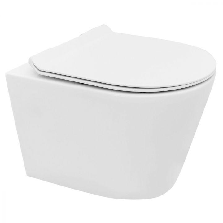 Vas wc EGO-T, suspendat, Rimless-fara bordura, capac Duroplast inclus