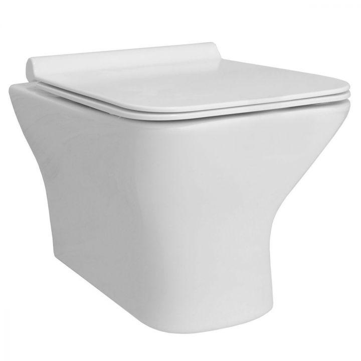 Vas wc EGO-BRU, suspendat, Rimless-fara bordura, capac Duroplast inclus
