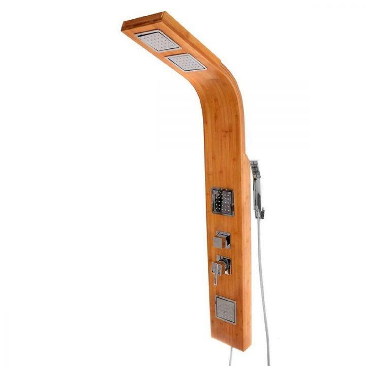 Panel dus 9307, design modern, din lemn de bambus, 3 functii:dus tip ploaie, dus de mana si hidromasaj