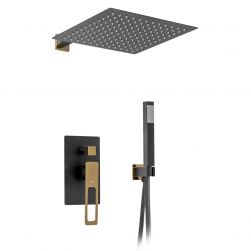 Sistem de dus EGO-Soh, montaj incastrat, finisaj negru mat si auriu
