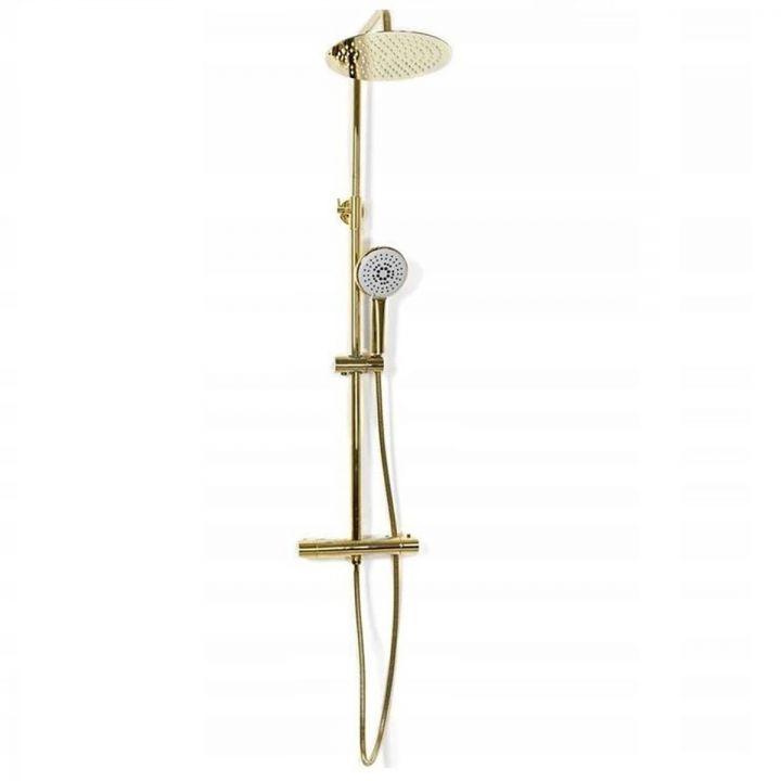 Sistem dus cu termostat Vincent, dus tip ploaie 25x25, dus de mana, design modern, finisaj L.Gold