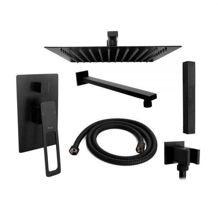 Sistem dus EGO-SOH, montaj incastrat, finisaj negru mat, dus tip ploaie 30x30 cm