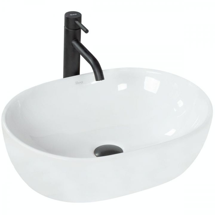 Lavoar Amelia, oval, 48x34 cm, montaj pe blat, ceramica sanitara alba, fara gaura baterie