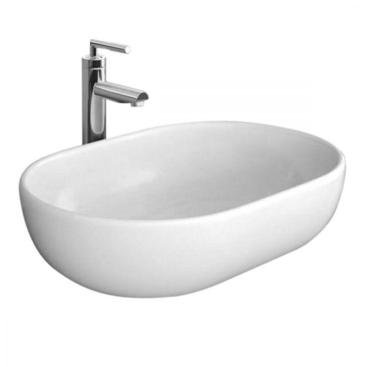 Lavoar Amelia, oval, 59x42 cm, montaj pe blat, ceramica sanitara alba, design modern