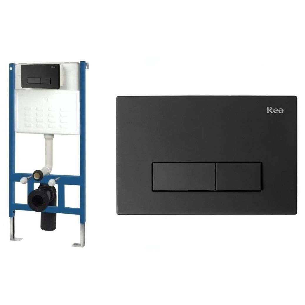 Cadru cu rezervor incastrat pentru WC, Clapeta de actionare inclusa H Black
