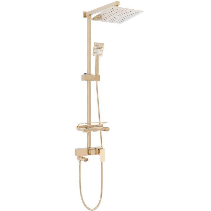 Sistem complet de dus EGO-Jack Gold, ploaie de dus 25x25 cm, dus de mana, design modern, finisaj auriu