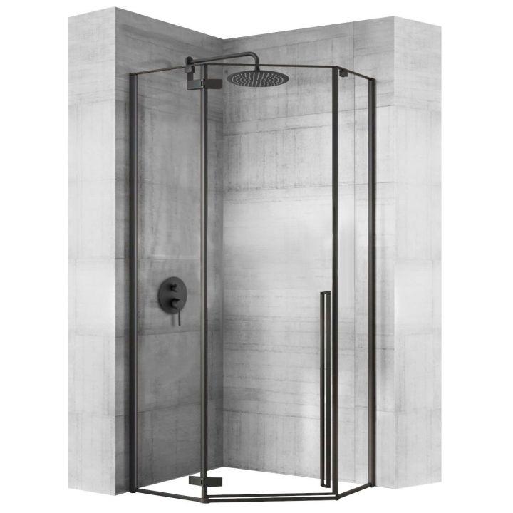 Cabina EGO-DIAMOND BLACK MAT, 100x100cm, sticla securizata 6mm transparenta, usa Batanta