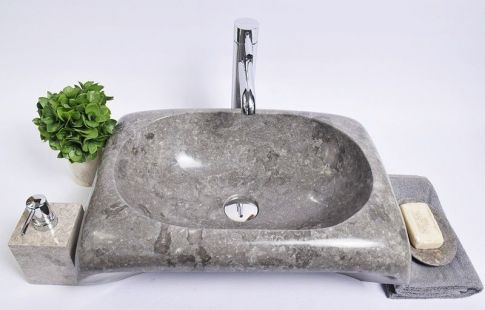 Lavoar piatra Ego RCTK-P GREY H 50x35x12 cm wash basin overtop