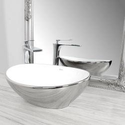 Lavoar argintiu, Sofia, design elegant si modern, montaj pe blat, 40 cm