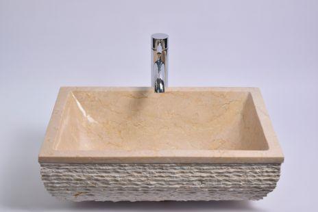 Lavoar piatra Ego RCU-M CREAM H 50x35 cm wash basin overtop