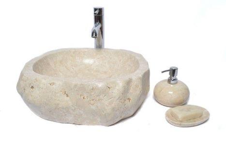 Lavoar piatra Ego EROSI White A polished wash basin overtop