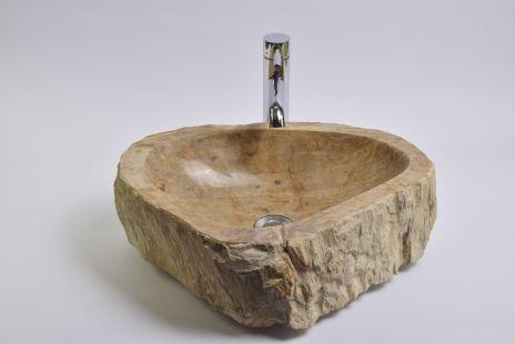 Lavoar piatra Ego PWO-B fossil wood SMALL R wash basin overtop