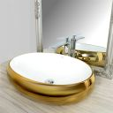 Lavoar auriu / alb Melanie, montaj pe blat, design deosebit, 60 cm, ceramica sanitara