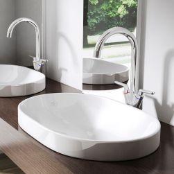 Lavoar 50006A, ceramica sanitara, montej pe blat, 80x48 cm, fara gaura baterie
