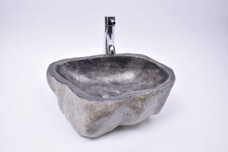 Lavoar piatra Ego EROSI Negru EP3 polished wash basin overtop