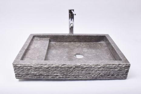 Lavoar piatra Ego KOTAK TRAP Grey 60x42x10 R7 wash basin overtop