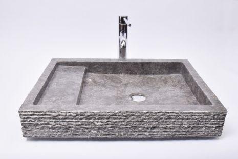 Lavoar piatra Ego KOTAK TRAP Grey 60x42x10 R5 wash basin overtop