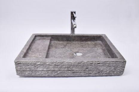 Lavoar piatra Ego KOTAK TRAP Grey 60x42x10 R4 wash basin overtop