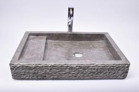 Lavoar piatra Ego KOTAK TRAP Grey 60x42x10 R3 wash basin overtop