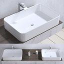Lavoar EGO-105, 58x38 cm, ceramica sanitara, montaj pe blat, fara gaura baterie