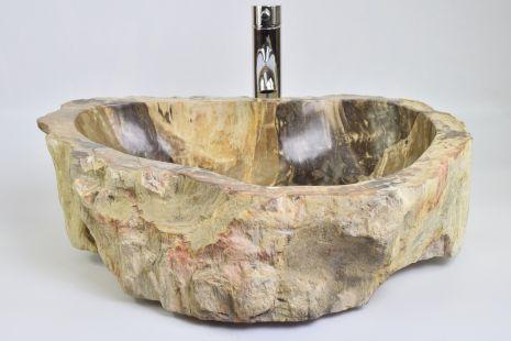 Lavoar piatra Ego PWO-B fossil wood brown LARGE BRL13 wash basin overtop