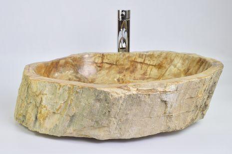 Lavoar piatra Ego PWO-B fossil wood brown LARGE BRL9 wash basin overtop