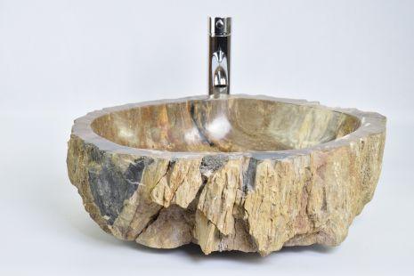 Lavoar piatra Ego PWO-B fossil wood black LARGE PB11 wash basin overtop