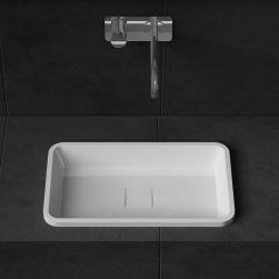 Lavoar EGO-104, compozit marmura, Alb Lucios, montaj pe blat , 53x33 cm