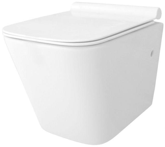 Vas wc EGO-Rau, suspendat, Rimless-fara bordura, capac Duroplast inclus